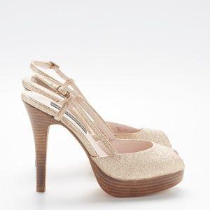 Steve Madden Luxe Gold Glitter Platform Heels